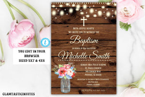 Spring Rustic Baptism Invitation, Baptism Invitation Printable, Girl Baptism Template, Printable Baptism Invitation, EDIT, Instant Download