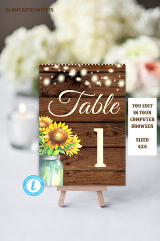 Rustic Sunflower Table Number Sign Template, Table, Numbers, Table Numbers, Rustic Wedding, Sunflower, Sunflowers, Table Decor, Editable