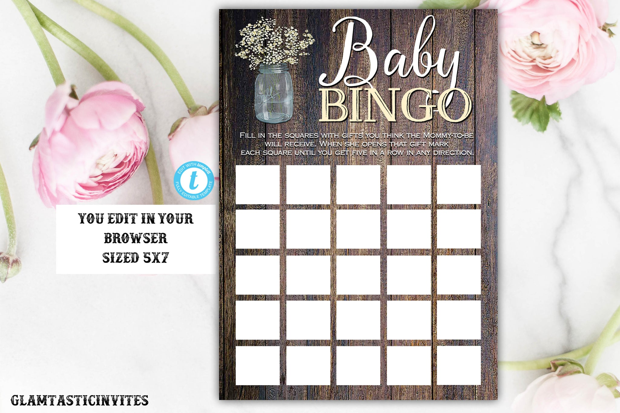 rustic baby bingo template babies breath bingo baby shower bingo