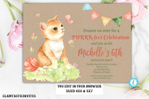 Cat Birthday Invitation Template, Kitty Birthday Party, Cat, Kitty, Purrfect, Cats Meow, Cat Birthday Invitation, Kitty Template, Editable