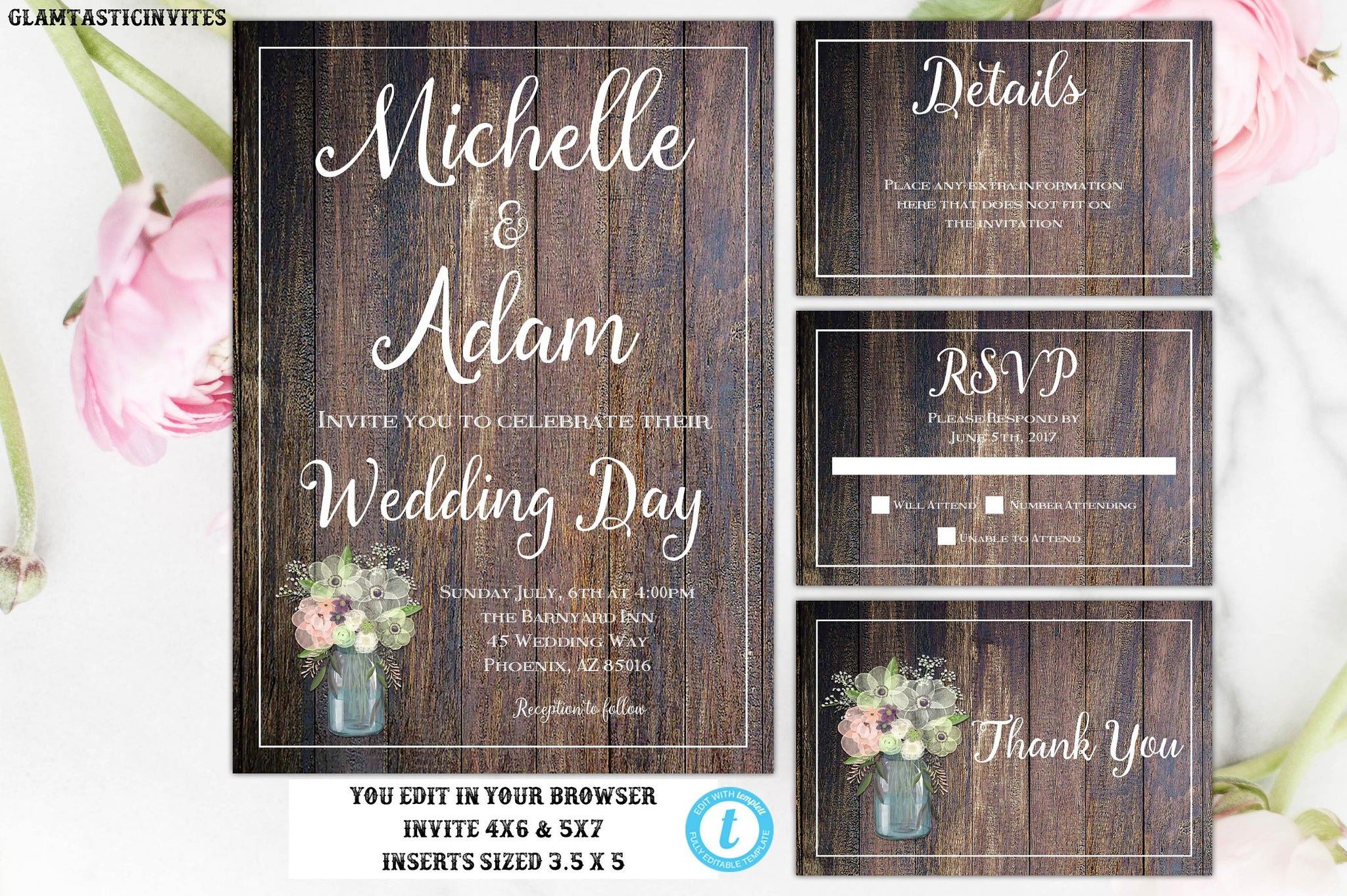 Rustic Wedding Invitation TEMPLATE, Country Wedding Invitation, Wedding Invitation Template, wedding invitation suite, INSTANT DOWNLOAD