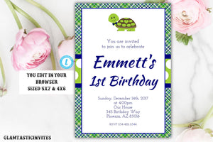 Turtle Birthday Invitation, Birthday Template, Turtle Birthday Invitation Template, You Edit, Printable, Template, Turtle, Boy Birthday