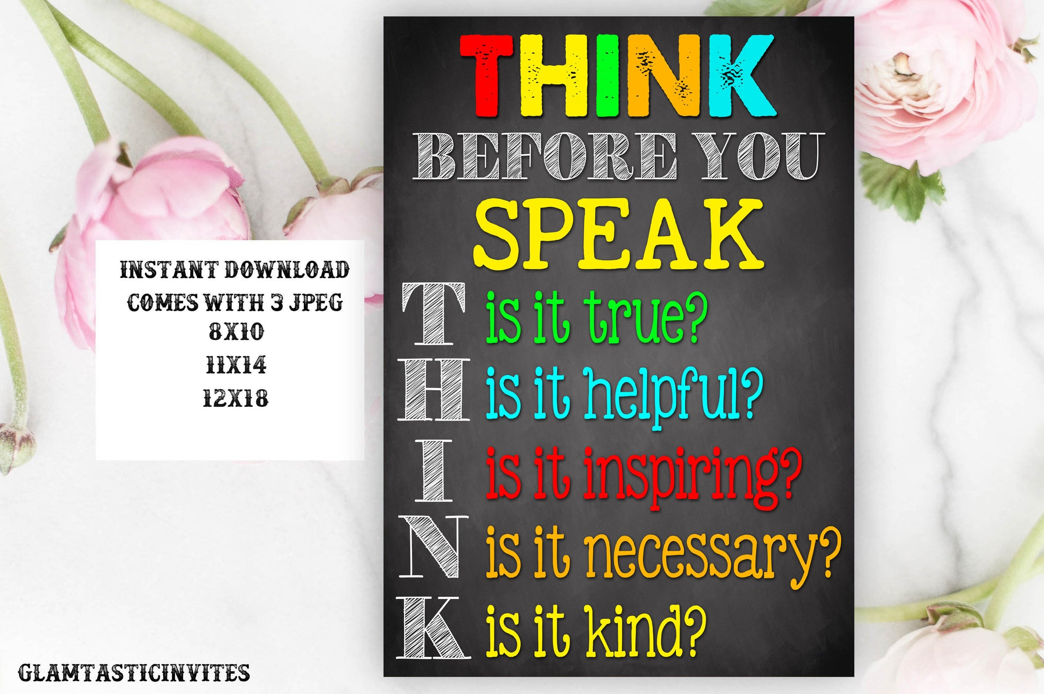 Think Before You Speak Sign, Teacher Decor, Classroom Decoration, Inspirational Quotes, Classroom Printable, Teacher Appreciation, Gift