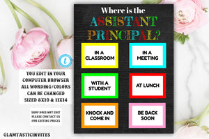Where is the Assistant Principle, Classroom Signs, Custom Classroom Sign, Teacher Sign, Classroom Decor, Where are We, Printable Sign, DIY