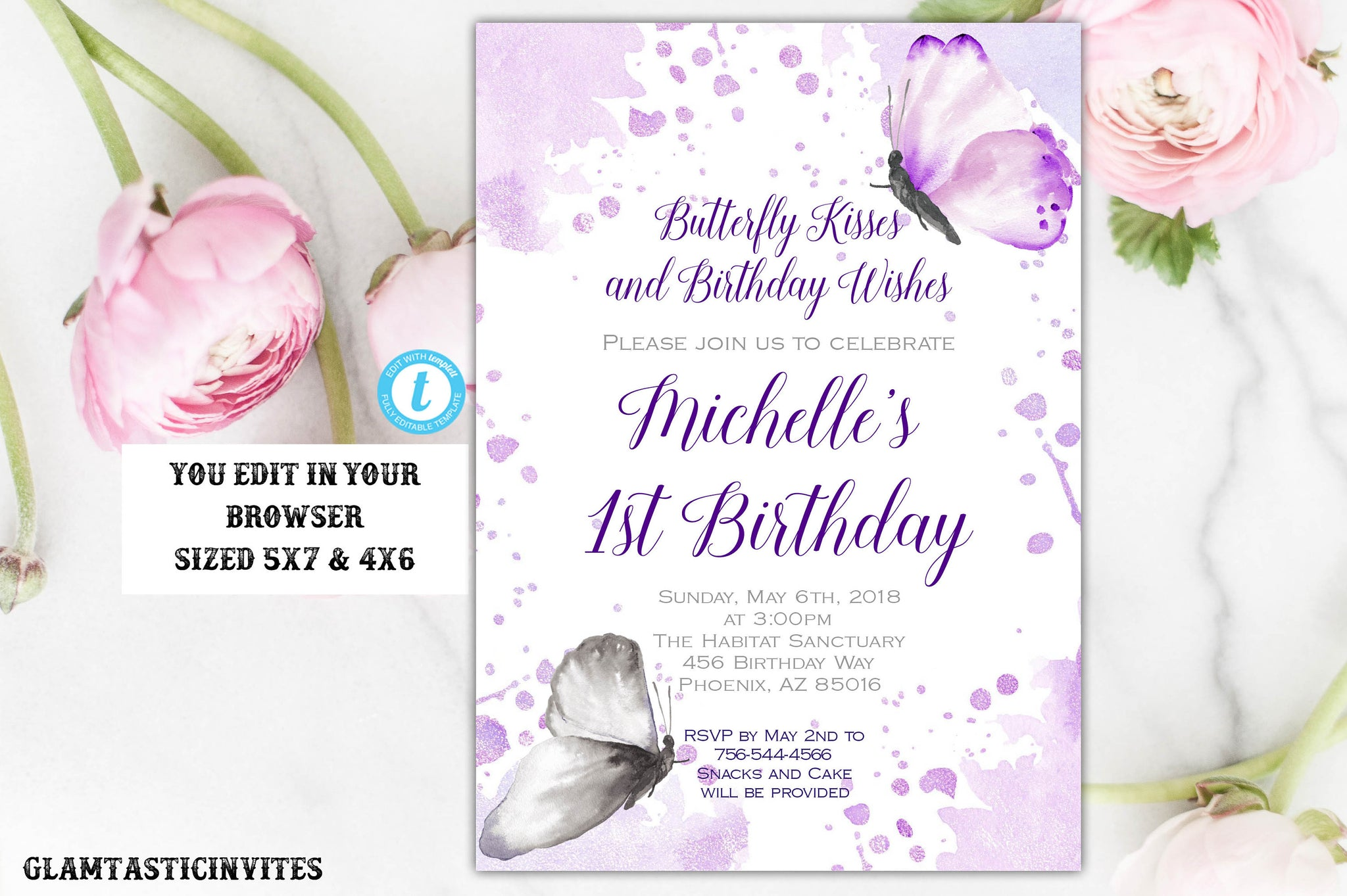 Butterfly Birthday Invitation Template, Instant Download, Editable ...