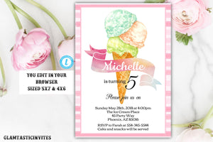 Girl Ice Cream Invitation, Ice Cream Birthday Invitation Template, Instant Download, Editable, Printable, Ice cream, Ice Cream Social, DIY