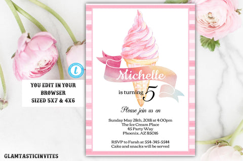 Ice Cream Invitation, Ice Cream Birthday Invitation Template, Instant Download, Editable, Printable, Ice cream, Ice Cream Social, DIY Invite