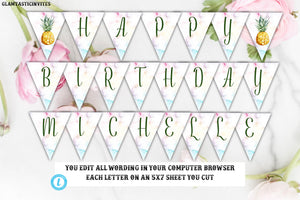 image about Pineapple Template Printable known as Pineapple Birthday Banner Template, Pineapple Birthday Template, Template, Immediate Obtain, Editable,Printable, Pineapple, Fruit, Do-it-yourself Signal