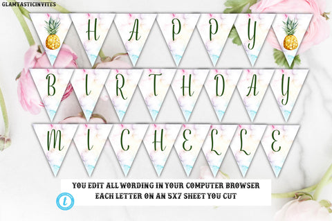 Pineapple Birthday Banner Template, Pineapple Birthday Template, Template, Instant Download, Editable,Printable, Pineapple, Fruit, DIY Sign