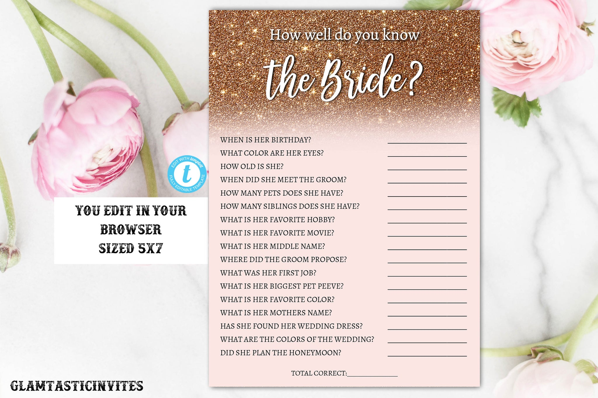 Rose Gold How Well Do You Know the Bridal Shower Game Template, DIY Bridal Shower, Bridal Shower Game, Instant Download, Know the Bride Game