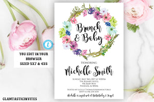 Floral Baby Shower Invitation, Rustic Boho Baby Shower Invite, Instant Download, Editable, Pink Baby Shower, Girl, Baby Brunch, Watercolor
