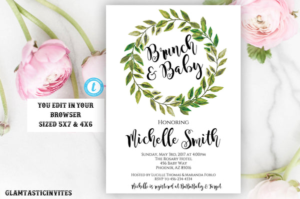 Brunch and Baby Shower Invitation Template Botanical Greenery Watercolor Wreath Instant Download Editable Printable Gender Neutral Girl Boy