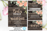 DIY Gender Neutral Rustic Boho Shabby Chic Country Elegant Instant Download Editable Printable Floral Online Baby Shower Invitation Template