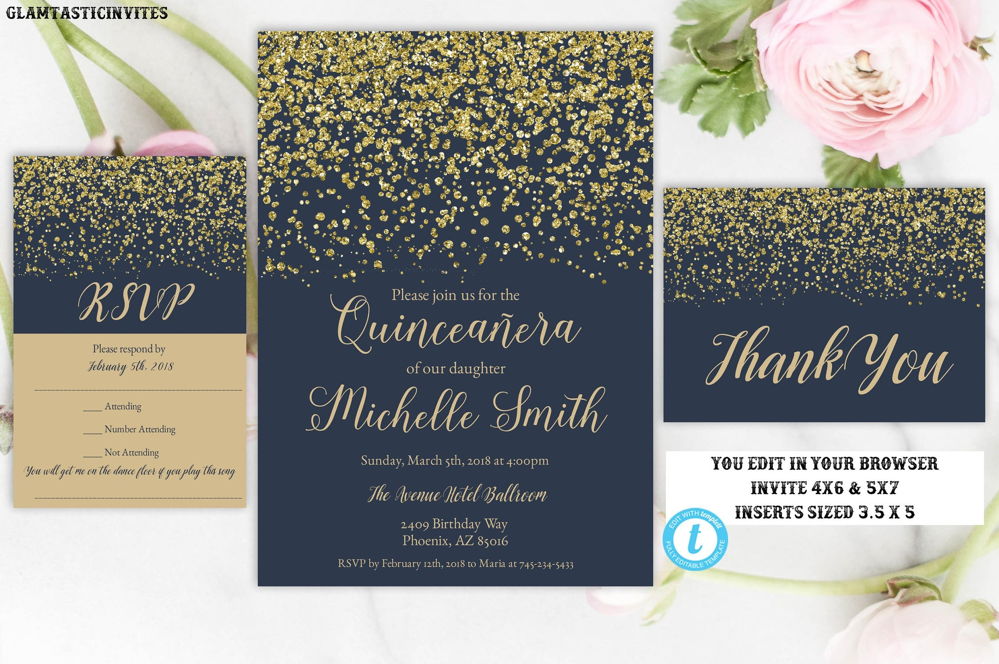 photo regarding Printable Quinceanera Invitations titled Armed forces Blue Gold Quinceañtechnology Invitation Template, Quinceañtechnology Invitation, Quinceañtechnology, Instantaneous Obtain, Editable, Printable, Lovable 15 Invite