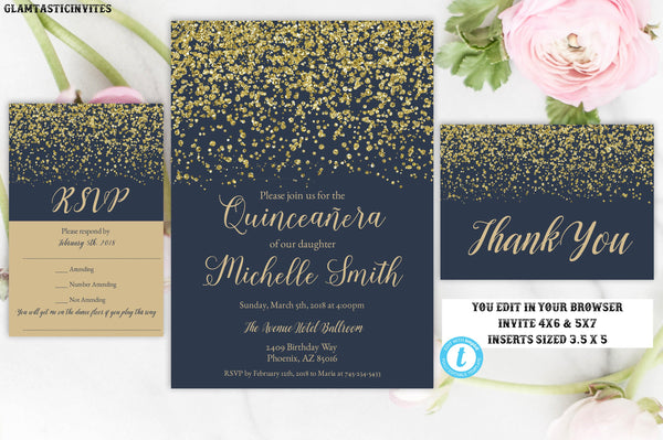 Navy Blue Gold Quinceañera Invitation Template, Quinceañera Invitation, Quinceañera, Instant Download, Editable, Printable, Sweet 15 Invite