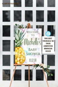 Pineapple Baby Shower Welcome Sign, Tropical Baby Shower Welcome Sign, Instant Download, Editable, Printable, Template, Any Event, Birthday