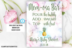 Mom-osa Baby Shower Sign Template, Momosa Baby Shower Sign, Pineapple Momosa Sign, Tropical Mom-osa Sign, Template, Instant Download, DIY