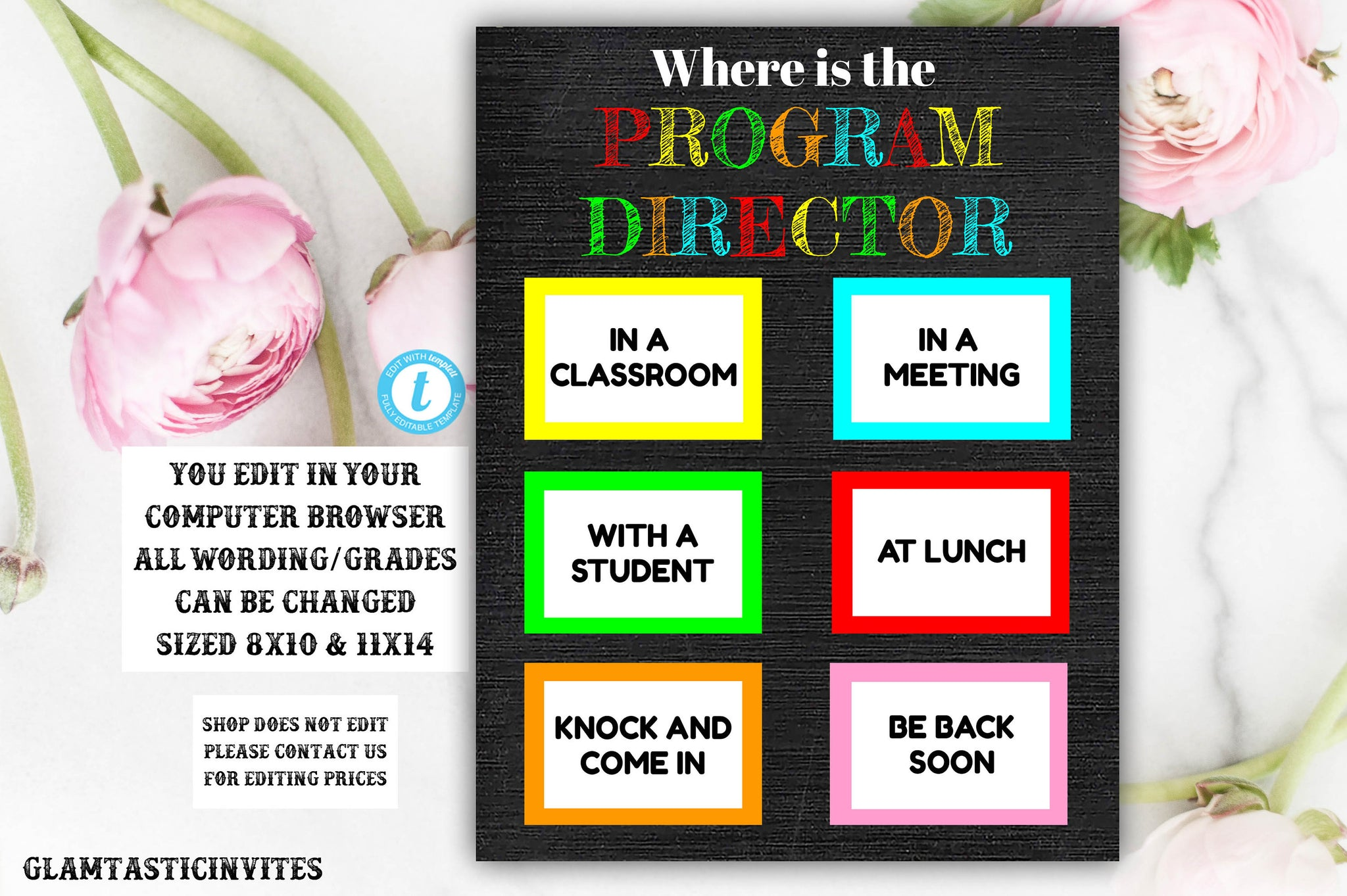 Where is the Program Director Sign, Where are we sign, Classroom Door Sign, Teacher Door Sign, Printable, Principle, Chalkboard, Editable