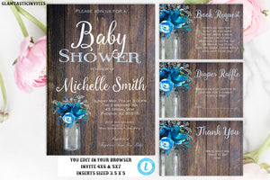 Rustic Baby Shower Invitation, Baby Shower Template, Baby Shower Template, Country Baby Shower, Baby Shower Package Template, DIY, Blue Baby