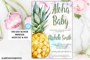 Pineapple Baby Shower Invitation, Instant Download, Baby Shower Template, Aloha Invitation, Aloha Baby, Editable, Gender Neutral, DIY Shower
