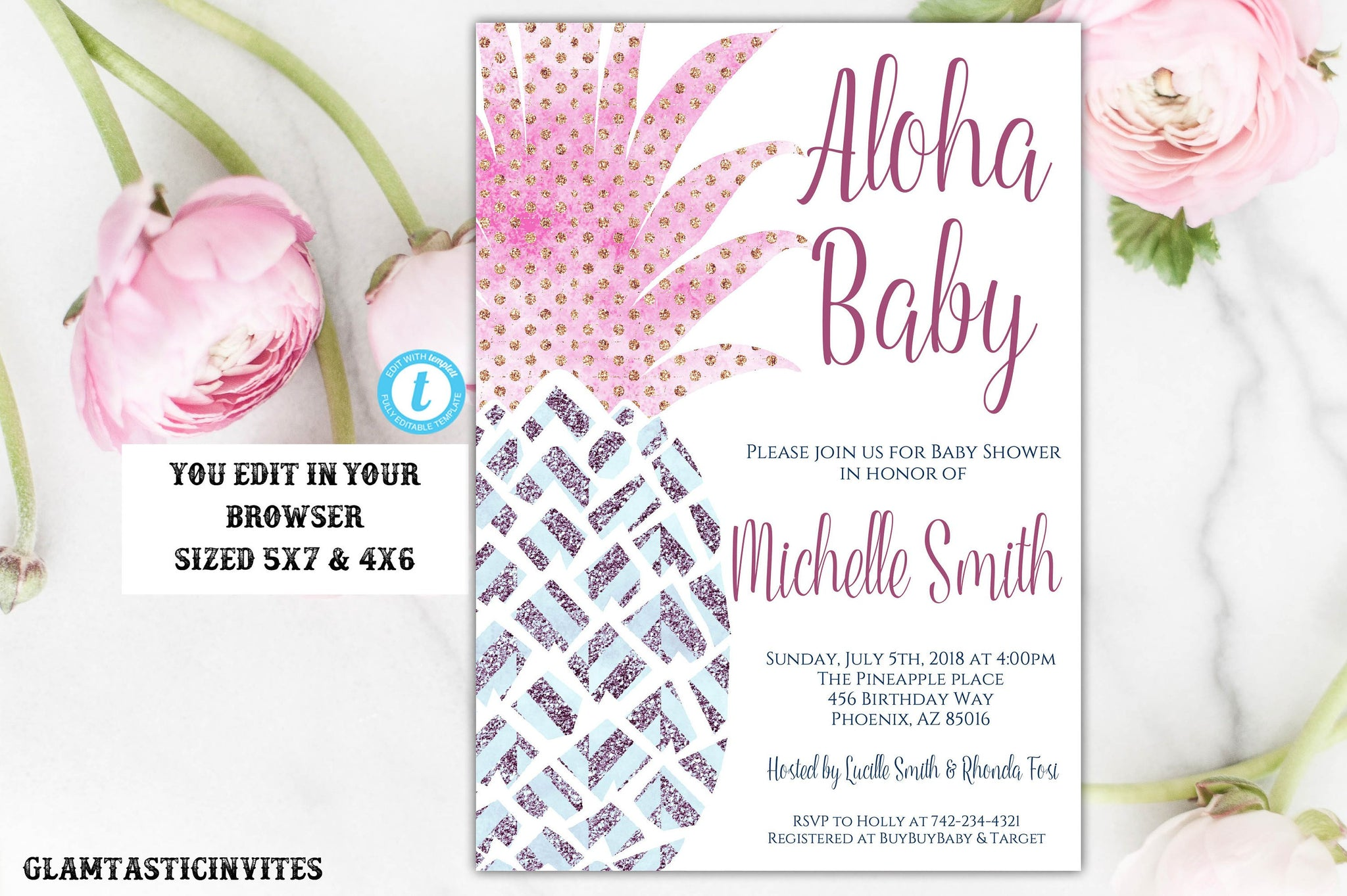 Pineapple Baby Shower Invitation, Instant Download, Baby Shower Template, Aloha Invitation, Aloha Baby, Editable, Pink, Gold, Blue, DIY Card