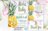 Pineapple Baby Shower Invitation Set, Instant Download, Baby Shower Template, Aloha Invitation, Aloha Baby, Editable, Gender Neutral, DIY