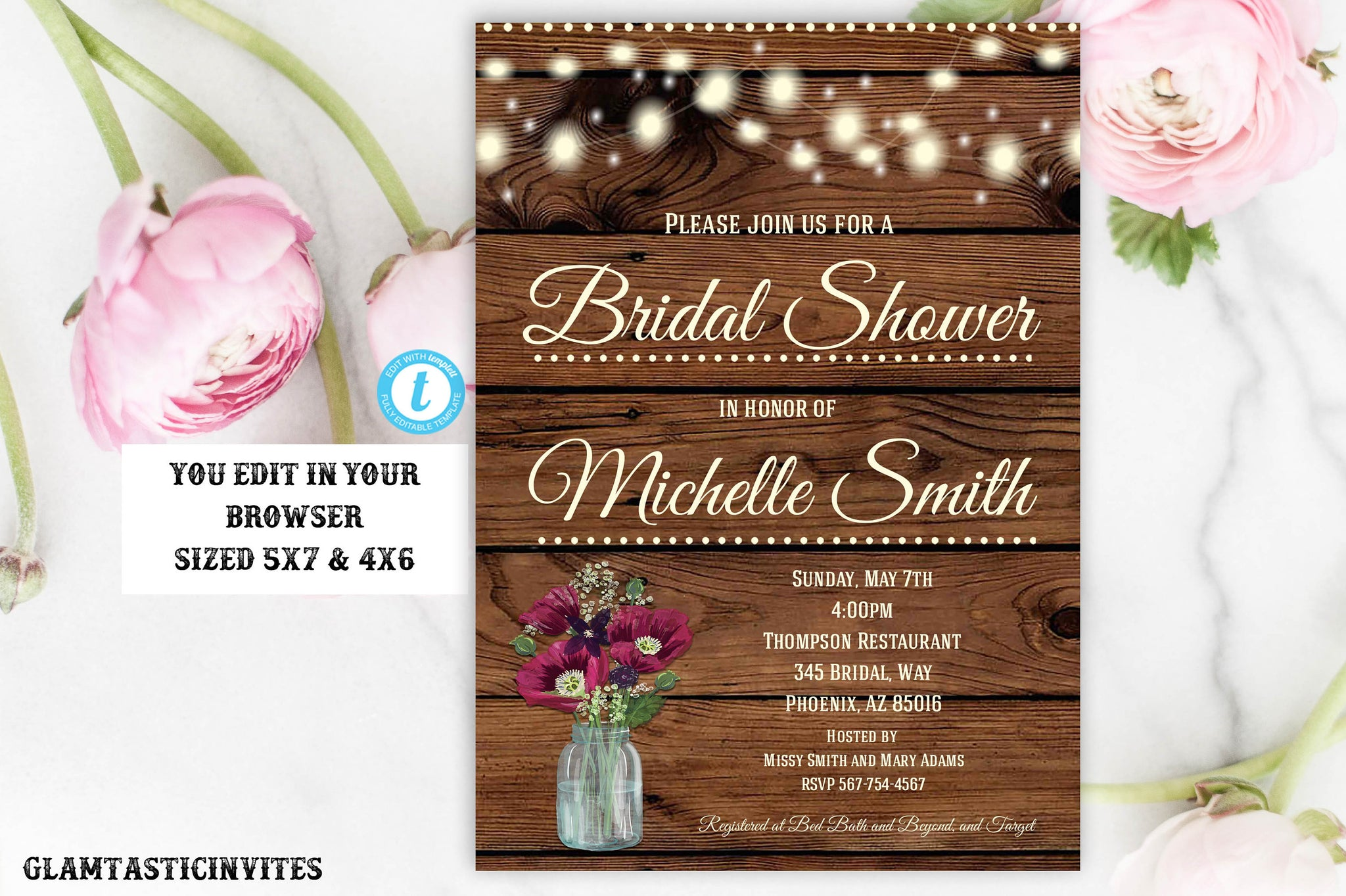 Rustic Burgundy Floral Bridal Shower Invitation Template Instant Download Editable Printable Country Vintage Flower Wine, Shower Invitation