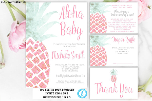 Pineapple Baby Shower Invitation, Instant Download, Baby Shower Template, Aloha Invitation, Aloha Baby, Editable, Pink, Gold, Green,DIY Card