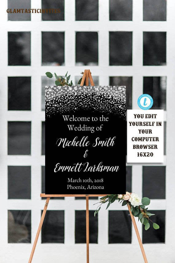 Wedding Welcome Sign Template, Black and Silver Welcome Sign Template, Instant Download, Printable, Editable, Diamond Wedding, Template, DIY