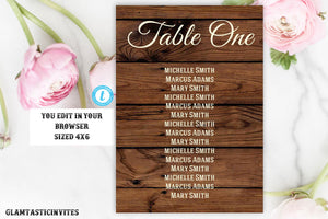Rustic Wedding Seating Chart Sign Template, Printable Wedding Table chart, Editable Wedding Table chart, Rustic Country Vintage Table Signs