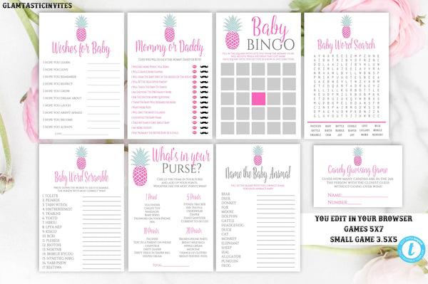 Pineapple Baby Shower Game Package Template, Instant Download, Editable, Printable, Pineapple, Baby Shower Game, Baby Shower Activity, Girl