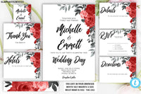 Red Rose Floral Wedding Invitation Template, Printable, Template, Instant Download, DIY Wedding, Wedding Template, Boho, Script, Editable