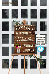 Rustic Boho Bridal Shower Welcome Sign Template Instant Download Editable Printable Country Vintage, Bridal Shower Sign, Welcome Sign, DIY