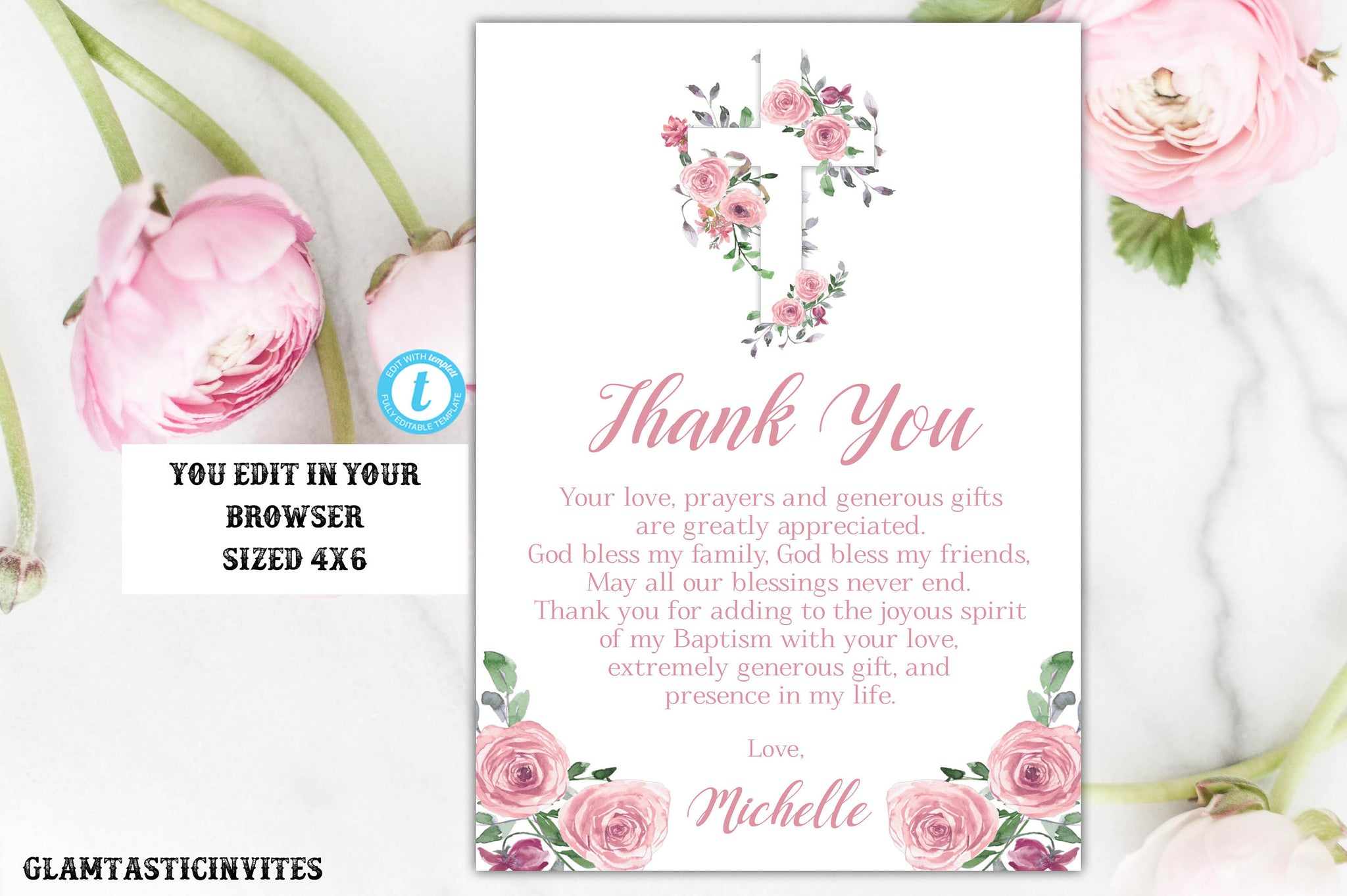 Girl Pink Floral Baptism Thank You Card Template, Editable, Printable, Thank You Card, Baptism, Dedication, First Communion, Template, Girl