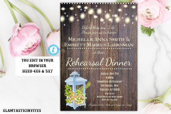 Rustic Succulent Rehearsal Dinner Invitation Template Editable Printable Instant Download, Rehearsal Dinner, Rustic, Country, Succulent, DIY