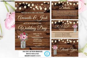 Wedding Invitation Template, YOU EDIT, Editable Wedding Invitation, Rustic Wedding Invitation, Invitation Template, Instant Download, Rustic