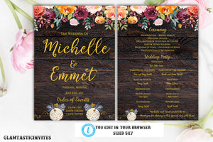 Rustic Wedding Program Template, Ceremony Program Template, Instant Download, Editable, Printable, Wedding Program Template,DIY Wedding Fan