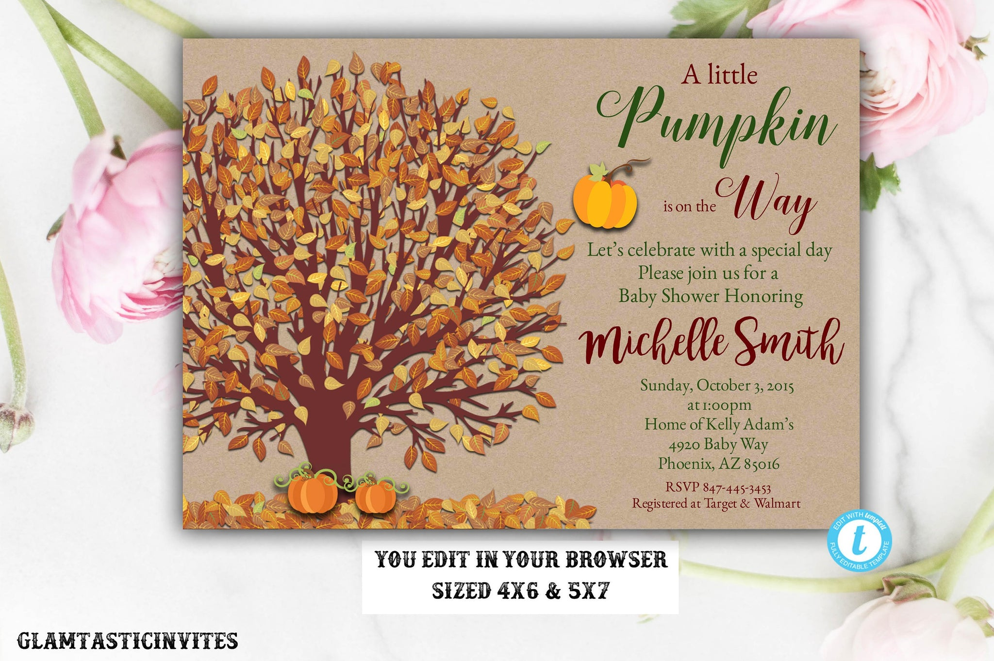 Pumpkin Baby Shower Invite, Little Pumpkin Baby Shower Invitation, Fall Baby Shower Invite, Baby Shower Template, Baby Shower Invitation