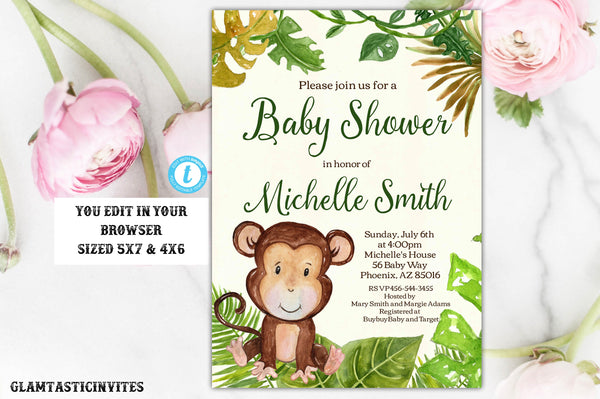 Monkey Safari Jungle Baby Shower Invitation Tropical Template Instant Download Editable Printable Rustic, Jungle, Safari, Baby Shower Invite