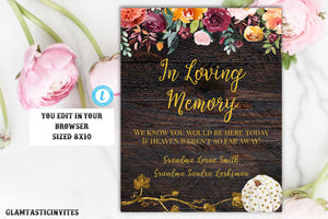 In Loving Memory Sign Template, Rustic In Loving Memory Sign Template, Editable, Printable, Rustic, Pumpkin, Fall, Burgundy, Template Sign