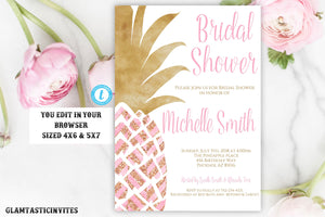 Pineapple Bridal Shower Invitation, Pineapple Bridal Shower Template, Pink, Gold, Glitter, Instant Download, Printable Invitation, Editable