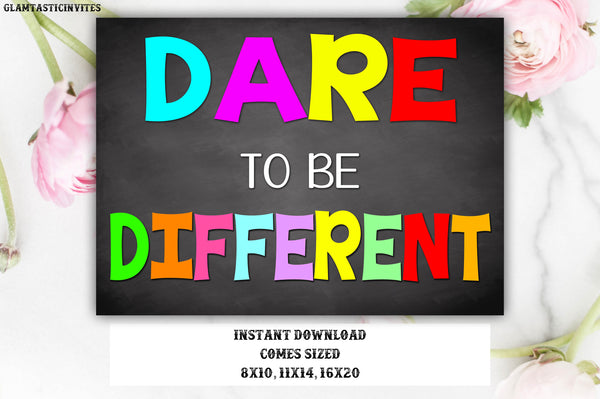 Counseling Office Poster, Classroom Decor, Dare to be Different Poster, Classroom Poster, Social Worker Poster, Counseling, Therapist Sign