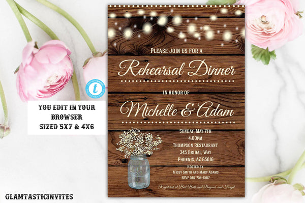 Rustic Rehearsal Dinner Invitation Template Editable Printable Instant Download YOU EDIT Boho Babies Breath, Rehearsal Dinner Invitation