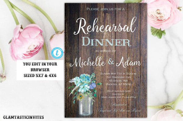 Rustic Boho Blue Cyan Country Rehearsal Dinner Invitation Template Editable Printable Vintage Floral, Rehearsal Dinner, Template, Boho, DIY