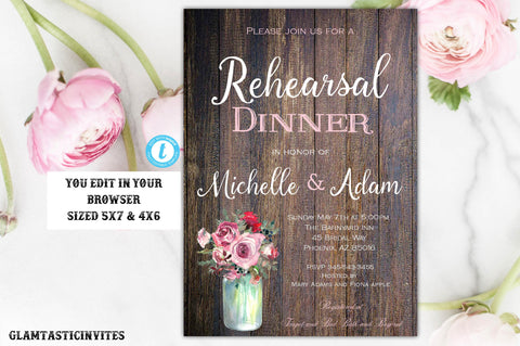 Red Pink Rose Rustic Rehearsal Dinner Invitation Template Instant Download Editable Printable Vintage Country Boho Floral Flower You Edit