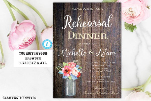 Tropical Boho Rustic Rehearsal Dinner Invitation Template Instant Download Editable Printable Vintage Country Floral Flower You Edit DIY