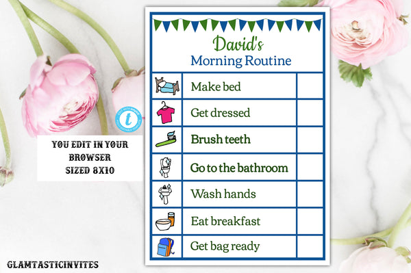 Boy Printable Editable Chore Chart Instant Download Daily Activities List, Boy Chore Chart, Template, Chore Chart Template, Daily Schedule