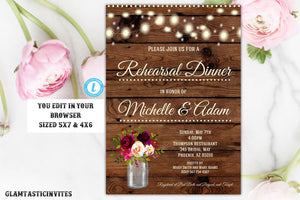 Rustic Boho Rehearsal Dinner Invitation Template Instant Download Editable Printable Country Vintage Floral DIY, Editable Shower Invitation