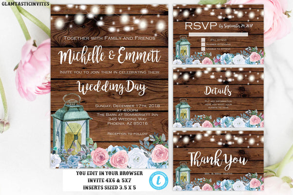 Wedding Invitation Set Template, Rustic Wedding Invitation, Instant Download, Editable, Printable, Rose, Blue, Silver, Pink, Floral Template