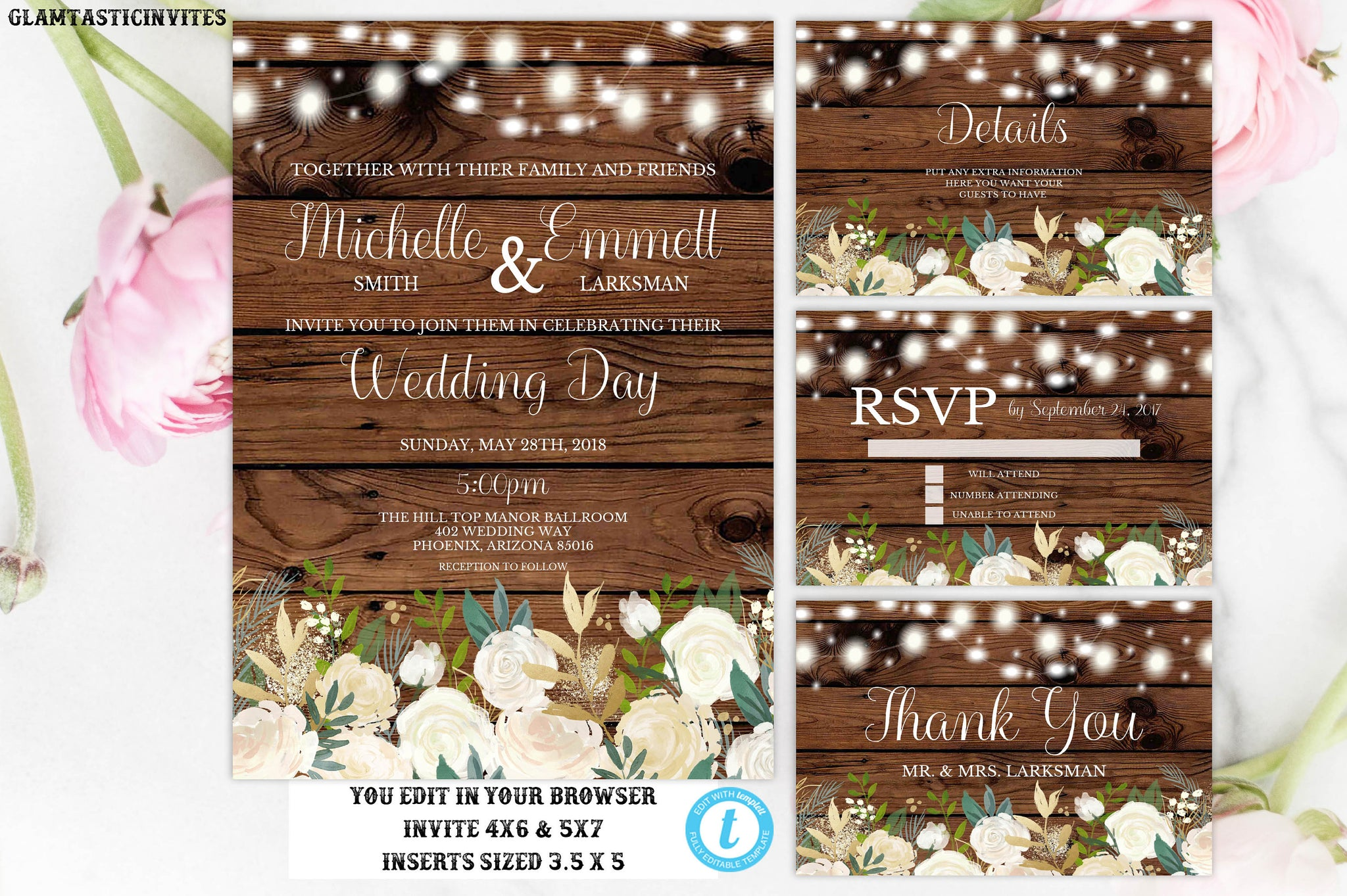 Wedding Invitation Template, Rustic Wedding Invitation Set, Floral Wedding Invitation, Instant Download, Editable, Printable,DIY Wedding Set